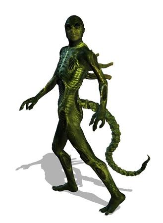 A reptilian alien takes a walk - 3d render  Stock Photo
