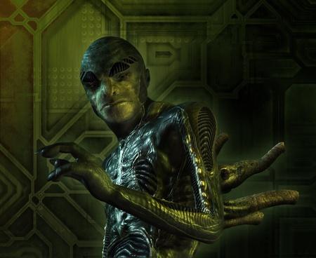 reptilian: Portrait of a lizard-like alien - 3D render with digital painting