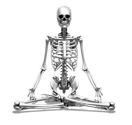 render: 3D render depicting a skeleton meditating - special shaders were used in the rendering process to create the appearance of a pencil drawing  Stock Photo