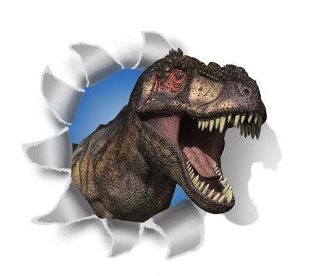 t rex: Een Tyrannosaurus Rex steekt zijn hoofd door het document - 3D render met digitaal schilderen
