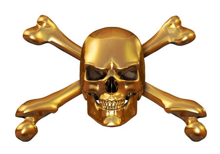 gold metal: Solid gold skull   crossbones - 3d render