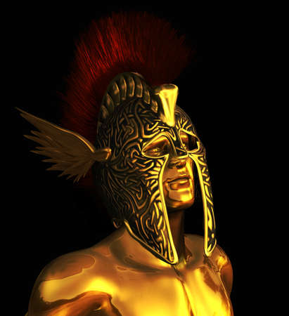 A portrait of Mercury, the messenger of the Gods, also the God of commerce, invention and cunning - 3D render  photo
