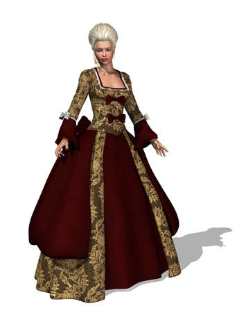 18th: An 18th century lady with roccoco style hair and gown - 3d render  Stock Photo