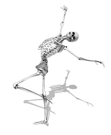 scheletro umano: Uno scheletro prende una posa aggraziata di pattinaggio - 3D render shader speciali sono stati utilizzati per creare l'aspetto di un disegno a matita Archivio Fotografico