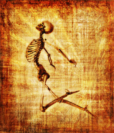 Grunge parchment featuring a leaping skeleton - 3D render with digital painting Stock Photo - 13992094