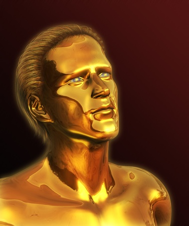 wealthy man: A visionary man with solid gold ideas looks to the future - 3D render with digital painting