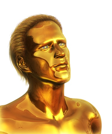 visionary: A visionary man with solid gold ideas looks to the future - 3D render with digital painting