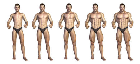 before and after: Chart depicting a bodybuilder gaining muscle mass over time - 3D render