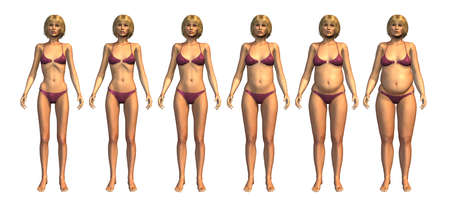 skinny woman: This cart shows a young woman starting as underweight and progressing on to overweight - 3D render