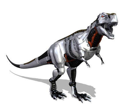 Modern technology goes prehistoric with this robot dinosaur - 3D render Stock Photo - 14580189