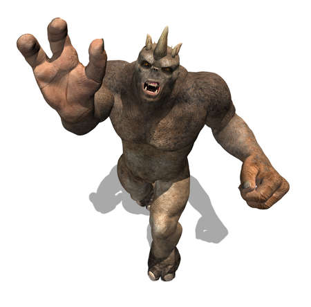 A powerful troll attacks, as seen from above - 3d render  Stock Photo
