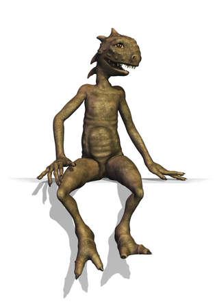 A cute little reptilian alien sitting on an edge or border - 3D render  photo