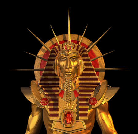 egyptian: 3D render depicting an ancient Egyptian Pharaoh statue, isolated on black  Stock Photo