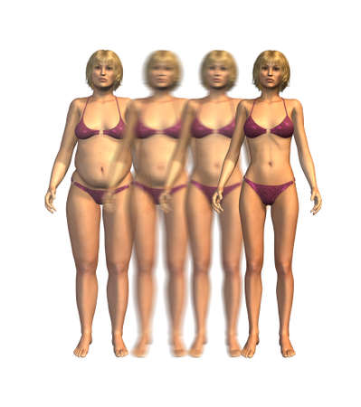 gain: A young woman losing weight over time - 3D render