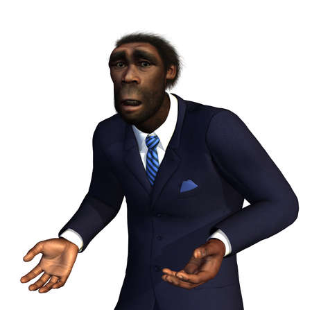 hominid: Un uomo Homo Erectus un antenato estinto per l'uomo moderno, si sente irrimediabilmente perso nel 21 � secolo - rendering 3D con la pittura digitale