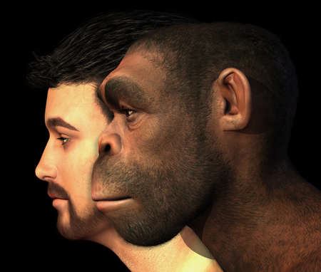 primitive: A portrait of a modern human and a Homo Erectus man side-by-side - 3D render with digital painting