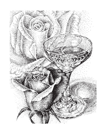 hand drawn rose: Wine and roses Illustration