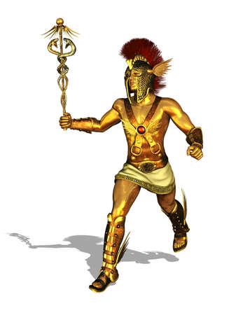 messengers of god: 3D render depicting the Greek God Mercury, messenger of the gods, the god of trade, merchants and travel