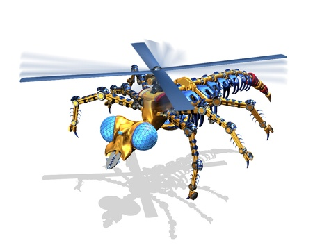 techology: A robotic insect is about to land - 3D render