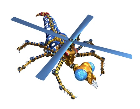 A robotic insect as seen from above - 3d render  photo