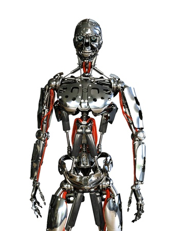 cyborg: A chrome robot stands ready to do your bidding - 3D render