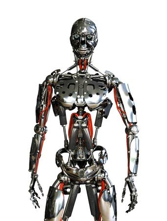 bidding: A chrome robot stands ready to do your bidding - 3D render