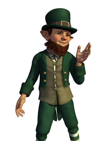 saluta: Un Leprechaun saluta un amico - 3d rendering