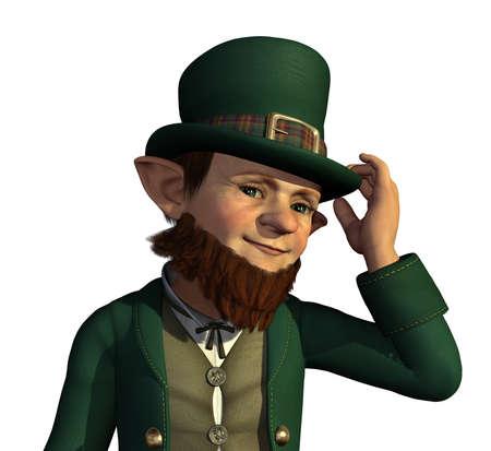 leprechaun: A friendly leprechaun tips his hat to you - 3D render