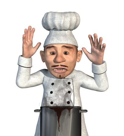 mishap: A chef is horrified to discover that his sauce has boiled over and burned - 3d render with digital painting