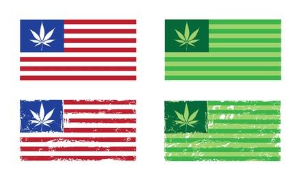 cannabis: Cannabis Nation, Flaggen auf der US-Flagge basiert, mit und ohne grunge