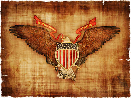 july: The Great Seal of the USA on worn ragged parchment - digital image.