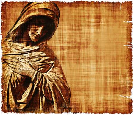 virgen maria: Un pergamino viejo y desgastado con la Virgen Mar�a en el dolor - imagen digital creada utilizando un monumento cementerio