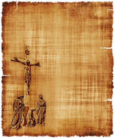 pergamino: Un pergamino viejo desgastado con la crucifixi�n de Cristo - imagen digital