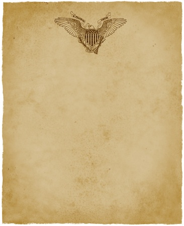The Great Seal of the USA is centered at the top of a sheet of aged parchment paper - digital image  photo