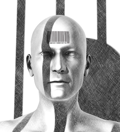 injustice: A prisoner is dehumanized and regarded as a mere unit of commerce in a for-profit prison system  This is a 3D render, special shaders were used in the rendering process to create the appearance of a pencil drawing