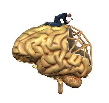 traumatic: A worker is in the process of rebuilding a human brain - 3D renders and digital painting. Illustrates recovery from brain injury,