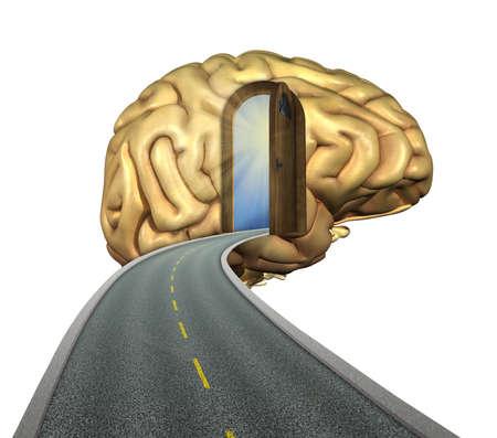 enseñanza: Mente Destino: camino hacia el cerebro - renders 3D y pintura digital. Foto de archivo