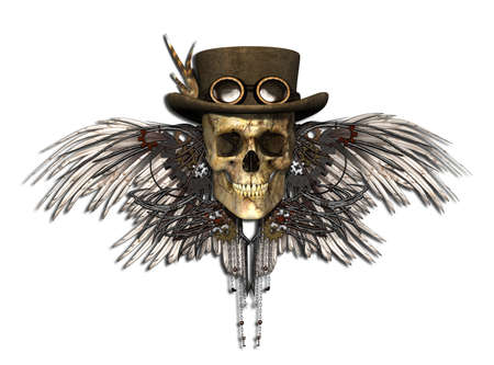 3D rendering: A Steampunk Skull isolated on white - 3d render.
