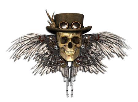 steampunk goggles: Un cr�neo de Steampunk aislado en blanco - 3d. Foto de archivo