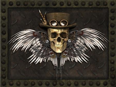 steampunk goggles: Un cr�neo de Steampunk en una placa de metal de fondo - 3d.