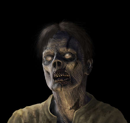 hideous: Portrait of a zombie - 3d render with digital painting.