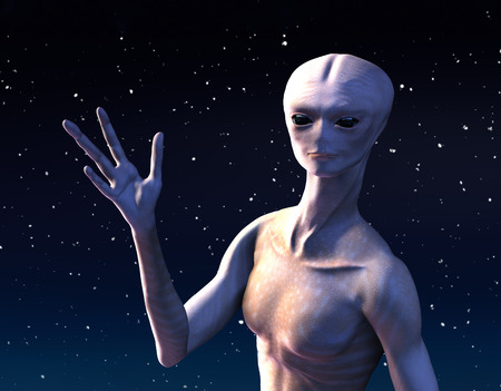 An alien is waving, to offer a friendly greeting from outer space - 3d render.