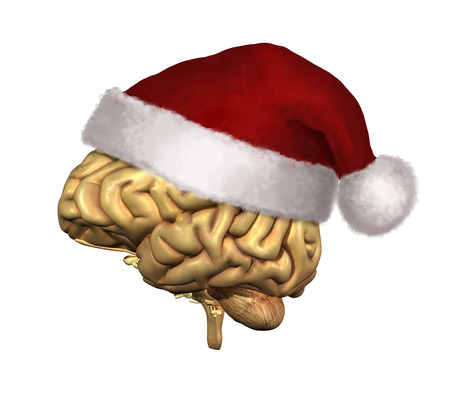 Smart Christmas - a human brain wearing a Santa Claus hat - 3D render with digital painting