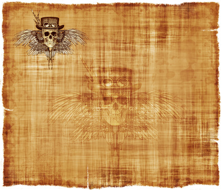 death metal: A parchment background featuring a steampunk skull in the upper left hand corner, and a ghost image in the center.