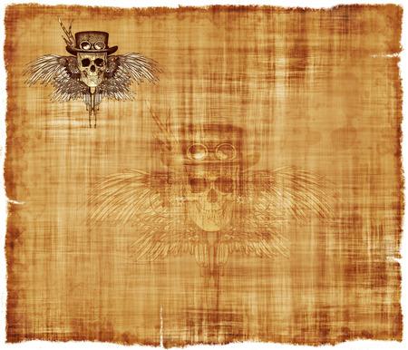 steampunk goggles: Un fondo de pergamino con un cr�neo de steampunk en la esquina superior izquierda, y una imagen fantasma en el centro. Foto de archivo