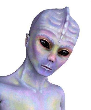 alien face: Portrait of a colorful alien with a gentle face