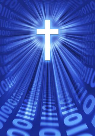 radiating: Grafico raffigurante una croce che irradia luce e cifre binarie - che rappresenta l'uso della tecnologia digitale per diffondere la Parola di Dio.