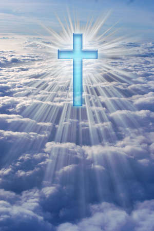 A cross in heaven surrounded by rays of light.
