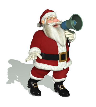 important: Santa making an important announcement with a megaphone - 3D render.