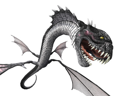 flying dragon: A snake dragon lunges at you from above - 3D render. Stock Photo
